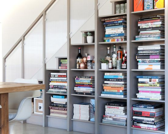 Simple Shelves Under Stairs