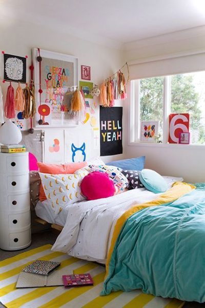 Colorful teenage girls room decor small house decor - Bed room for teen ...