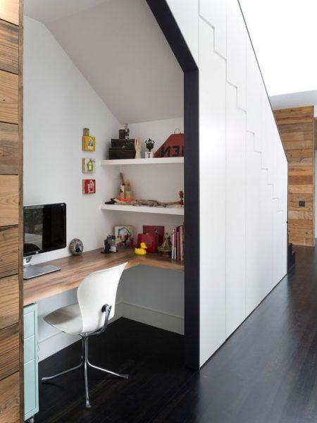 contemporay home office under stairs