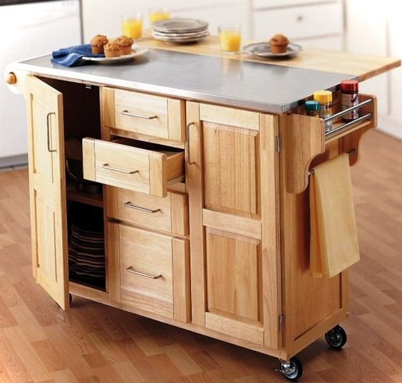Folding Kitchen Island Cart >> 10 Multifunctional Kitchen Island Ideas - Small House Decor