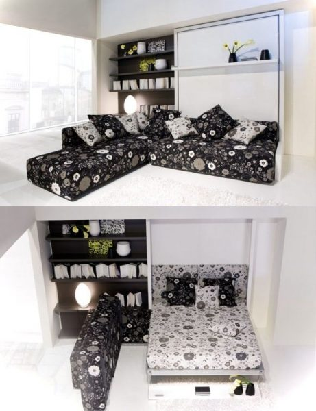 L Shape Wall Mounted Bed And Sofa.