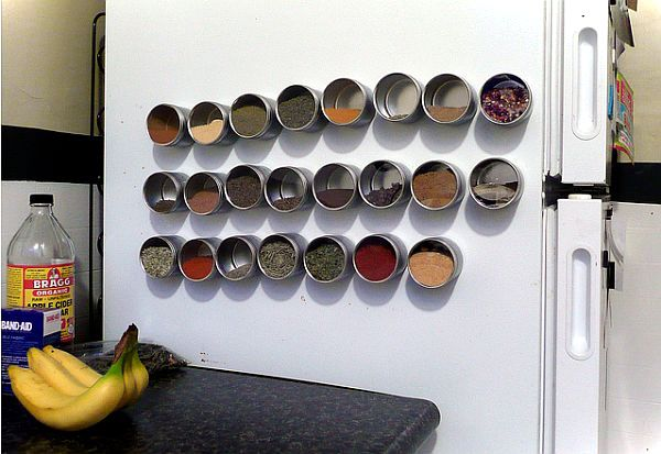 Magnetic Spice Rack On Refrigerator