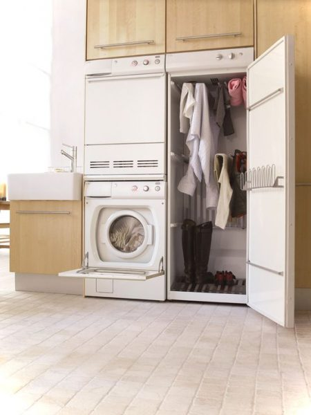 Modern Laundry Room Design With Drying Cabinet