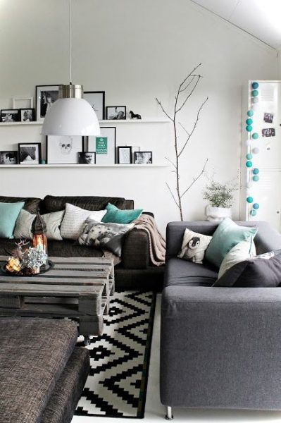 Monochrome Small Living Room Ideas View 1