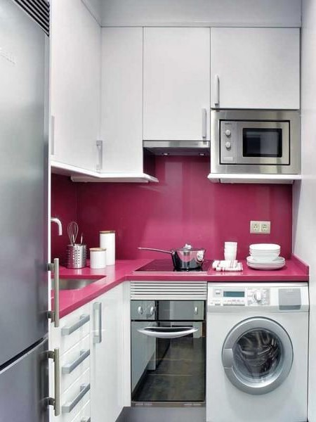 beautiful small kitchen pink and white