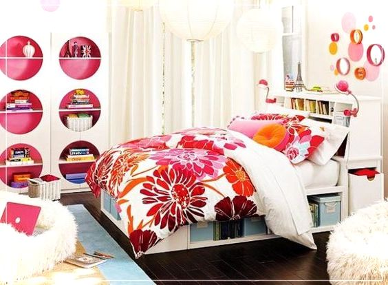 Colorful teenage girls room decor small house decor for Pretty bedroom accessories