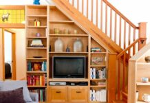 Shelves Tv Rack Under Stairs