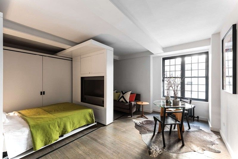 Sliding Wall Apartment Design - bed reveal