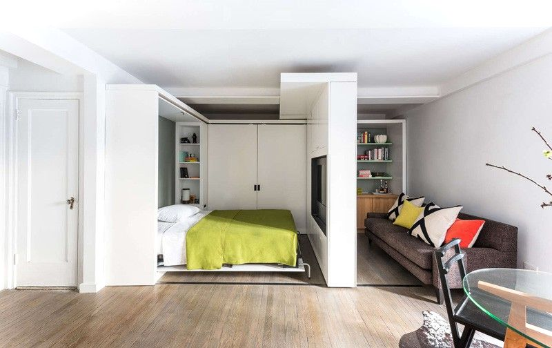 Sliding Wall Beds : Square meters apartment with moving wall design small
