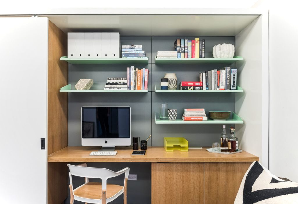 shelvs with computer on Moving Wall Design Apartment