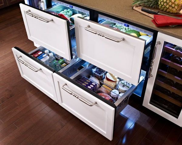 Refrigerated drawers under counter