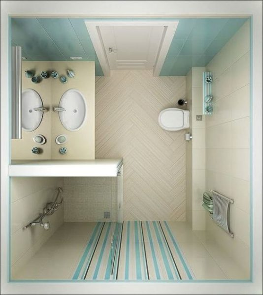 beautiful soft blue tiny bathroom