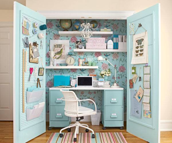 blue theme closet office