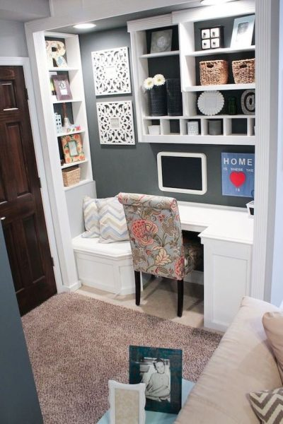 little office so inviting the nook storage make it looks so office