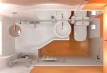 white and orange tiny bathroom