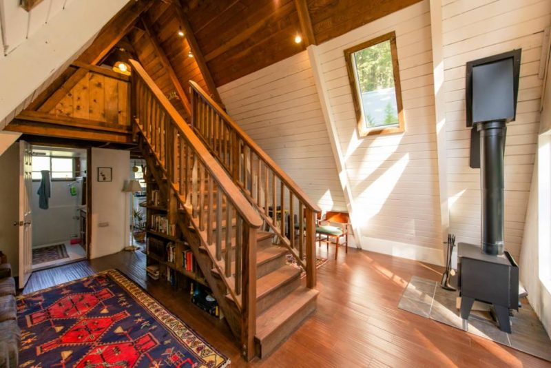A-frame Tiny Cabin House Stairs