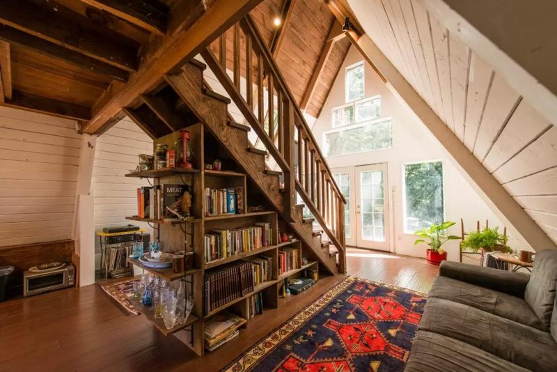 A-frame Tiny Cabin House Under Stairs Library