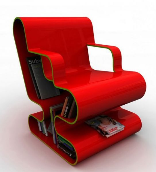 Comfy Red Bookcase Chair