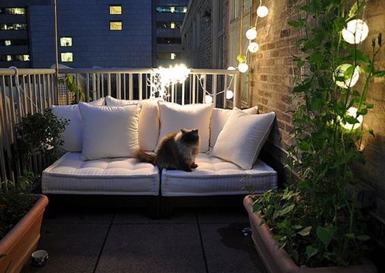 35 Lovely And Inspiring Small Balcony Ideas Small House  : Cozy And Peacful Small Balcony At Night from smallhousedecor.com size 550 x 390 jpeg 44kB