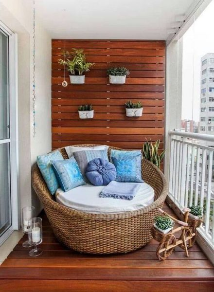 Cozy Small Balcony With Daybed Outdoor