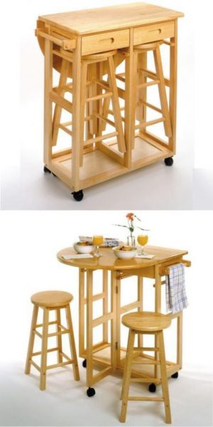 15 Practical Space Saving Table and Chair Ideas Small  : Kitchnette Table And Chair Design from smallhousedecor.com size 497 x 995 jpeg 52kB