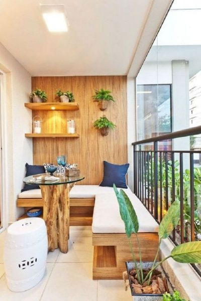 Natural Looks Balcony Ideas. Warm Small Balcony Design