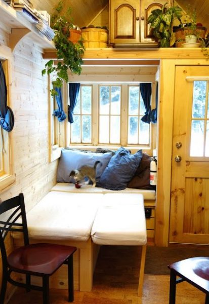 Off-grid Tiny House On Wheels Cozy Bench