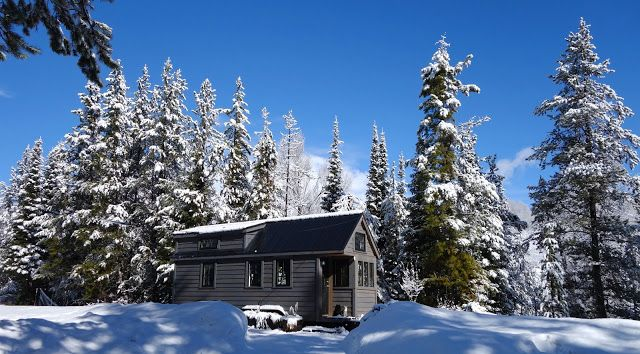 Off-grid Tiny House On Wheels Exterior Views On Winter