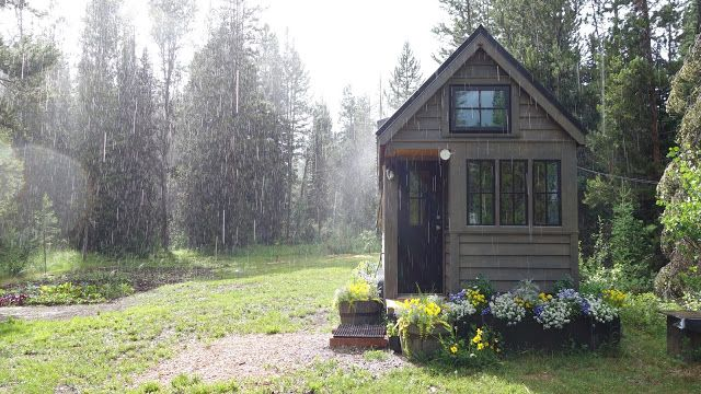 Off-grid Tiny House On Wheels Front View On Rainy Days