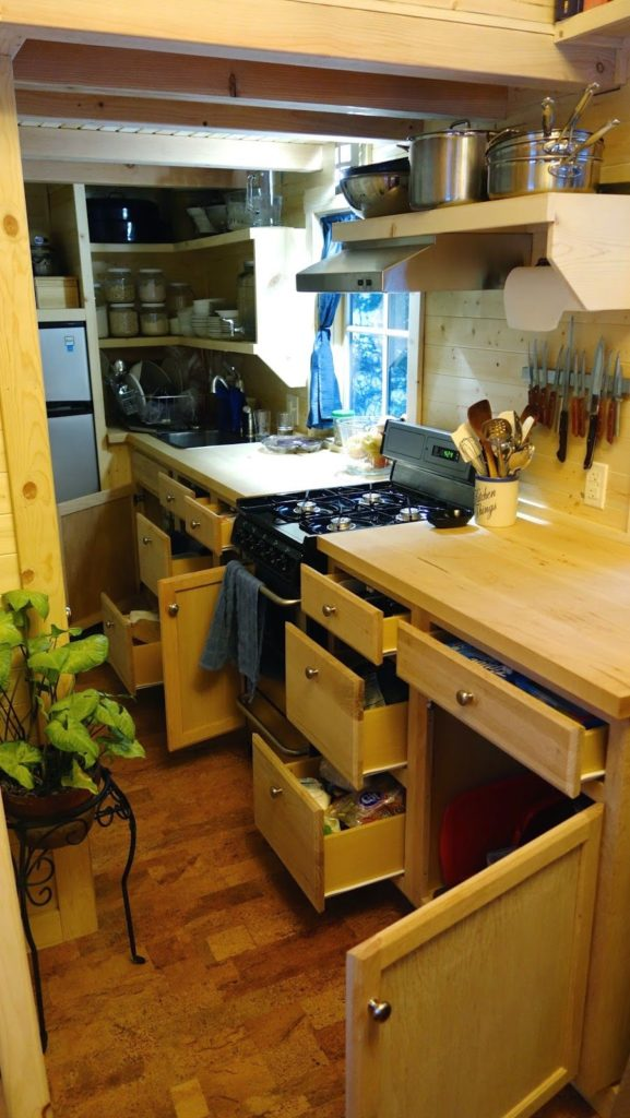 Off-grid Tiny House On Wheels Kitchen Cabinet Design