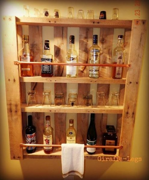 Old Pallet Shelves For Drink Storage