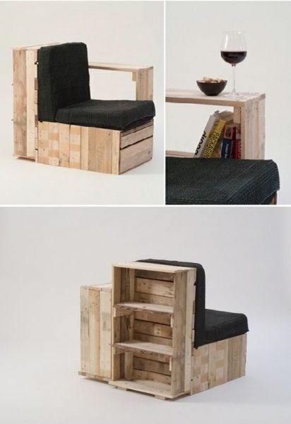 Pallet Bookcase Chairs