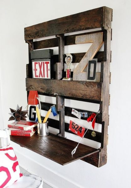 Pallet Shelves With Fold Up Desk