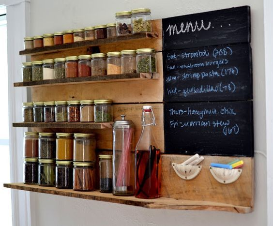 Pallet Spice Rack With Blackboard