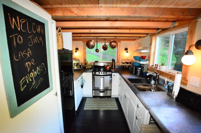 tiny house trailer kitchen view