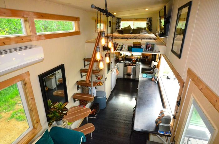pretty tiny house trailers. Tiny House Trailer Living Room 224 Square Feet  Interiors Tours Small