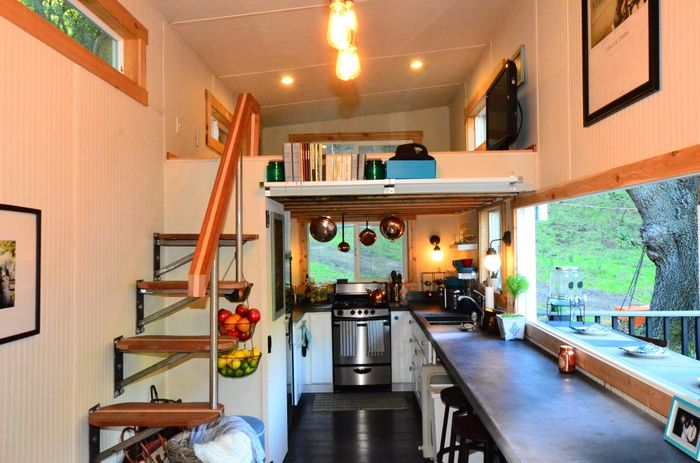 224 square feet tiny house trailer interiors tours for Tiny house interior ideas