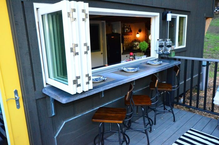 224 square feet tiny house trailer exteriors tours for Small house design inside and outside
