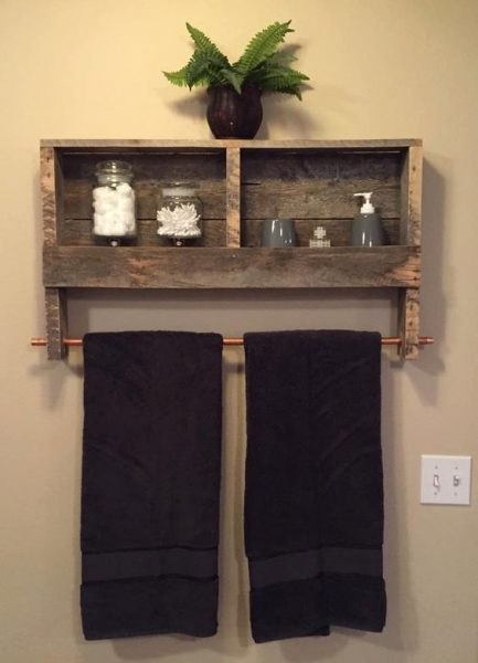 Upcycle Wooden Palet Shelves As Towel Rack