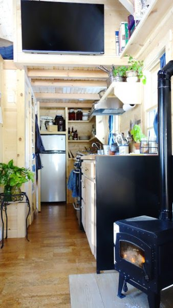 off-grid tiny house on wheels tv wall panel