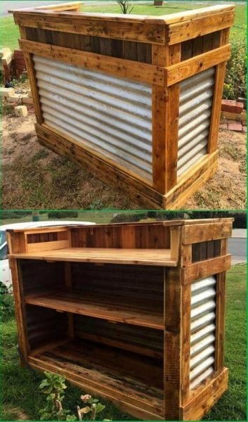 DIY Bar Table Made of Pallet and Corrugated Sheet