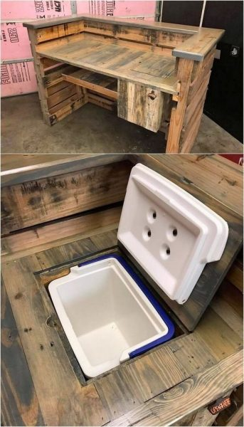DIY Pallet Bar Ideas with Built-in Cooler Box
