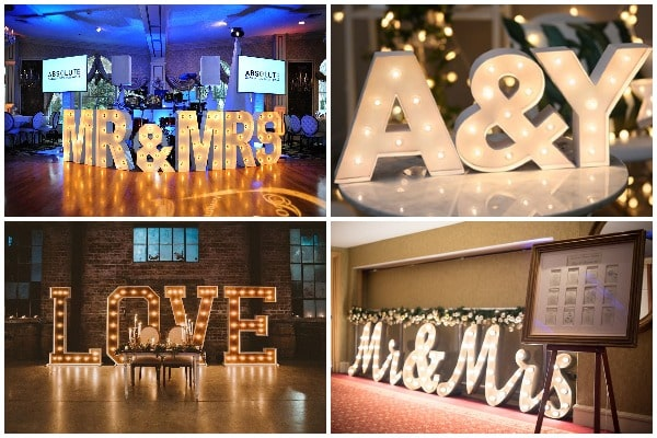 Decorate with light up letters - Wedding Light Ideas